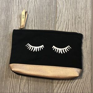 Eyelash gold and black Ipsy cosmetic makeup bag